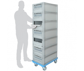 Order picking trolley with 7 euro containers with drop down doors