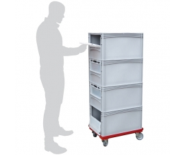 Order Picking Trolley with 4 Euro Containers with Drop Down Doors