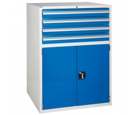 Euroslide cabinet with 4 drawers and 1 cupboard in blue