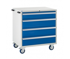 Mobile Euroslide cabinet with 4 drawers in blue