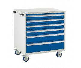 Mobile Euroslide cabinet with 6 drawers in blue