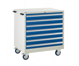 Mobile Euroslide cabinet with 7 drawers in blue