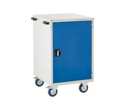 Mobile Euroslide cabinet with 1 cupboard in blue