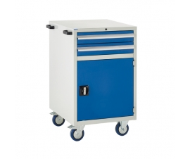 Mobile Euroslide cabinet with 2 drawers and 1 cupboard in blue