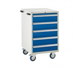 Mobile Euroslide cabinet with 5 drawers in blue
