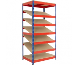 Shelving bay with 5 sloping shelves