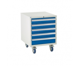 Under bench Euroslide cabinet with 5 drawers in blue