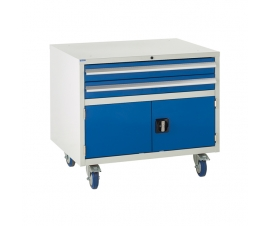 Under bench Euroslide cabinet with 2 drawers and 1 cupboard in blue