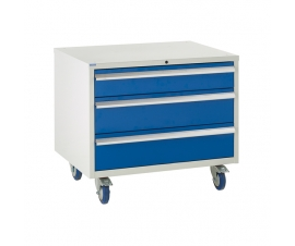 Under bench Euroslide cabinet with 3 drawers in blue