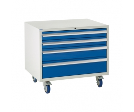 Under bench Euroslide cabinet with 4 drawers in blue
