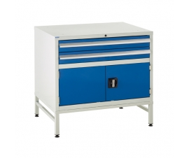Under bench Euroslide cabinet and stand with 2 drawers and 1 cupboard in blue