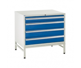 Under bench Euroslide cabinet and stand with 4 drawers in blue