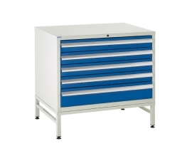 Under bench Euroslide cabinet and stand with 5 drawers in blue
