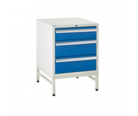 Under bench Euroslide cabinet and stand with 3 drawers in blue