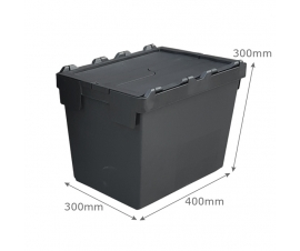 Black Attached Lid Container