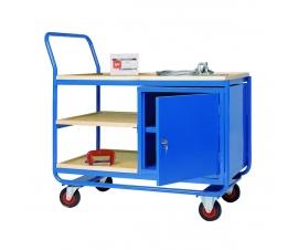 Trolley with 3 plywood shelves and steel cupboard