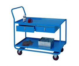 Trolley with 2 steel shelves and 2 drawers