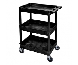 Strong Plastic Shelf Trolley with 3 Deep Trays