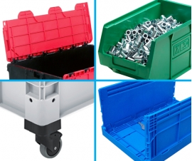 Plastic Storage Boxes By Feature, Including Wheeled, Lidded, Picking and Folding Boxes