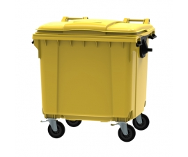 Yellow 1100 litre wheeled bin