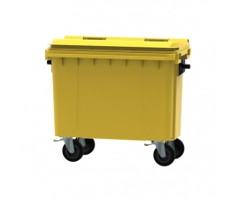 Yellow 500 litre wheeled bin