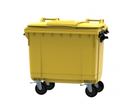 Yellow 660 litre wheeled bin