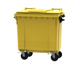Yellow 770 litre wheeled bin