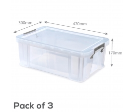 Clear Plastic Storage Boxes - 15 Litre Capacity
