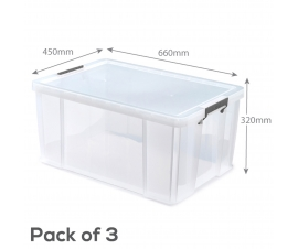 Clear Plastic Storage Boxes - 70 Litre Capacity