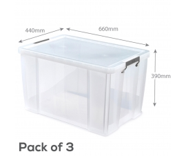 Pack of 3 Clear Plastic Storage Boxes - 85 Litre Capacity