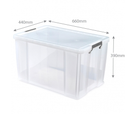 Clear Plastic Storage Boxes - 85 Litre Capacity