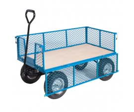 Plywood Base Platform Truck With Mesh Sides