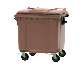 Brown 1100 litre wheeled bin