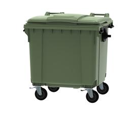 Green 1100 litre wheeled bin