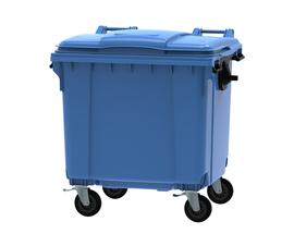 Blue 1100 litre wheeled bin