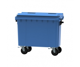 Blue 500 litre wheeled bin