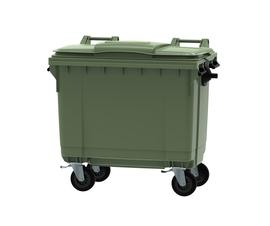 Green 660 litre wheeled bin