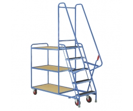 Step Tray Trolley With Plywood Shelves