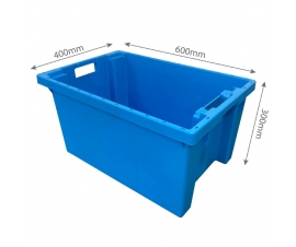 Blue 600x400x300mm Stack Nest 180 degree Crates with Measuremnts