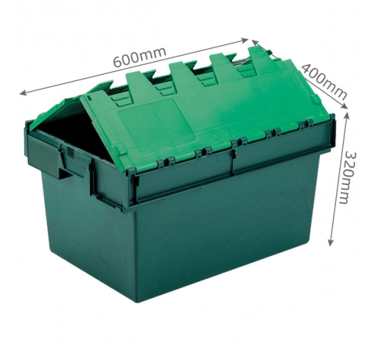 Green 600 x 400 euro attached lid container