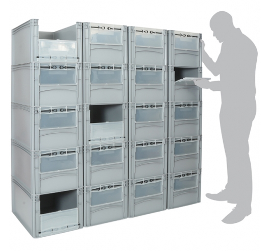 Ref: PWBK-WD64/32-20 (20 Container Pick Wall with Windows)