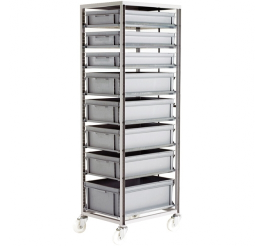 CT272 Adjustable Mobile Tray Rack With 8 Euro Containers