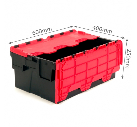 Red and black 40 litre plastic containers with hinged lids