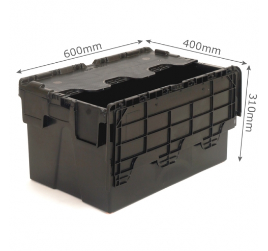 Black Tote Boxes with 52 Litre Capacity