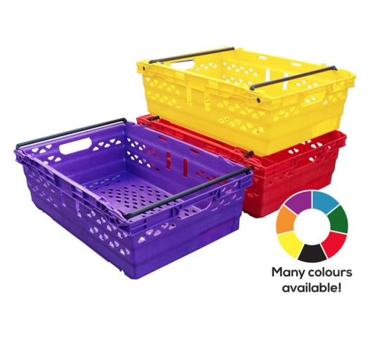 Coloured Supermarket Crates in Blue, Green, Red, Yellow, Purple, Black and Orange