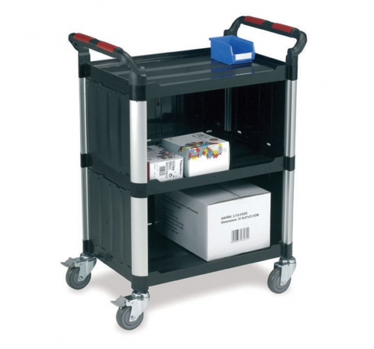 3 Shelf Utility Trolley with Enclosed Back and Sides