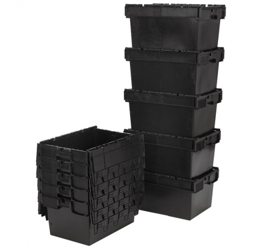 Nested and Stacked Black Recycled Attached Lid Container