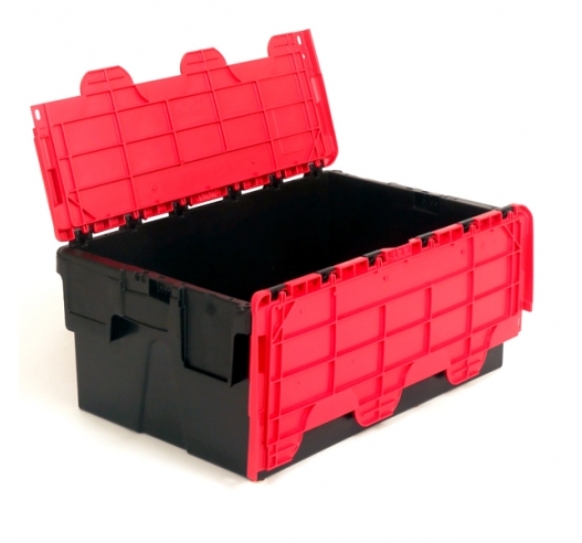 Storage crates with black body and red lids
