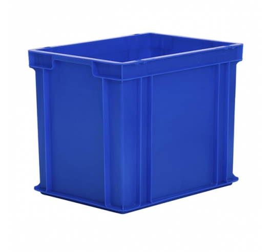 Blue stackable storage boxes