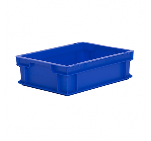 Blue plastic euro container 120mm high - food grade